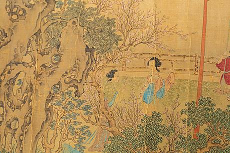 RullmÅlning, tusch och färg på siden. kina, 1900-tal.
