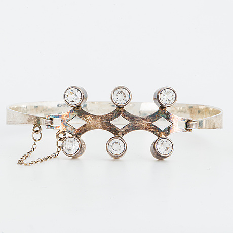 Ring and bangle, silver with rock crystal.