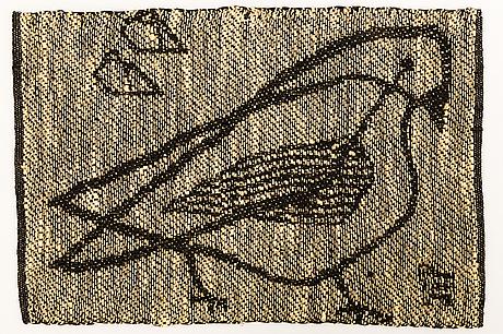 Dora jung, an early 1950's sample weave, signed dora jung.