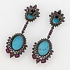 A pair of turquoise, rubies and.
