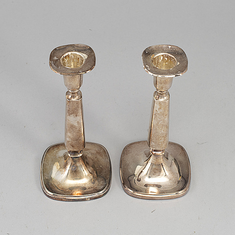 T eldh, a pair of silver candlesticks, cesons, gothenburg 1964.