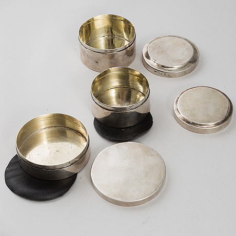 3 silver boxes, sweden 18th-19th century.