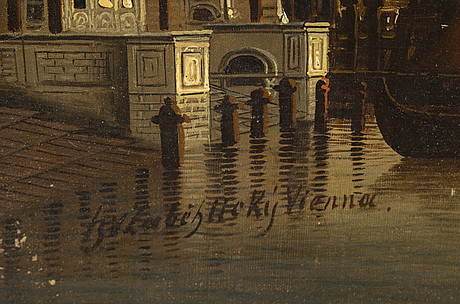 Unkown artist 19th/20th century. unclear signature. oil on canvas 47 x 93 cm.