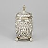 A 19th century parcel-gilt silver beaker and cover. barock-style.