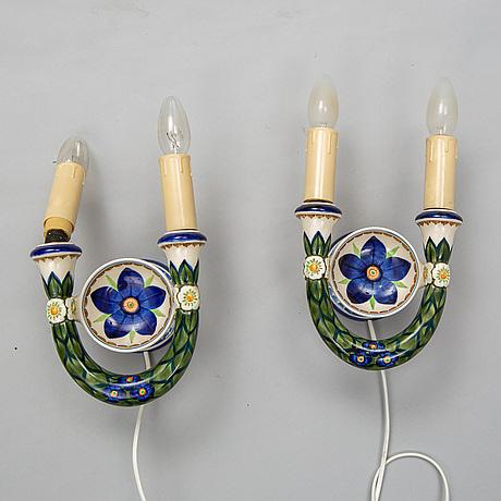 A pair of ceramic wall lamps, aluminia, denmark, 20th century.