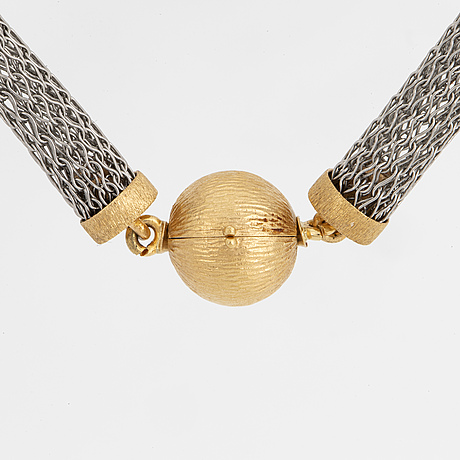 Ole lynggaard, silver and 18k gold necklace.