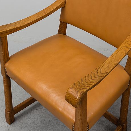 Carl malmsten, a set of five oak chairs.
