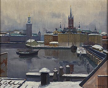 Gunnar Zetterström, oil on panel, signed and dated 1947.