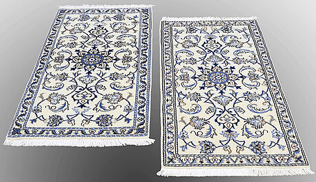 Two nain rugs, ca 138 x 70 and 140 x 70 cm.
