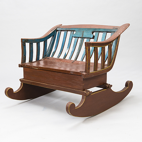 Bench from a sledge, changed to a rocking bench, 19th century, finland.