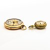 Two pocketwatches, 14k and 18k gold, 27 mm and 17 mm.