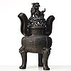 A large bronze censer with cover, presumably late ming dynasty (1368-1644).