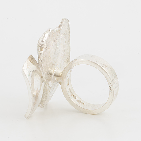Sterling silver and 18k white gold detail ring by rolf karlsson.