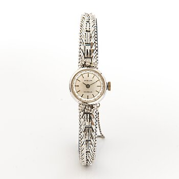 HILSON wrist watch, manual winding, 14K white gold, diamonds ca. 0.11 ct in total, 16 mm.
