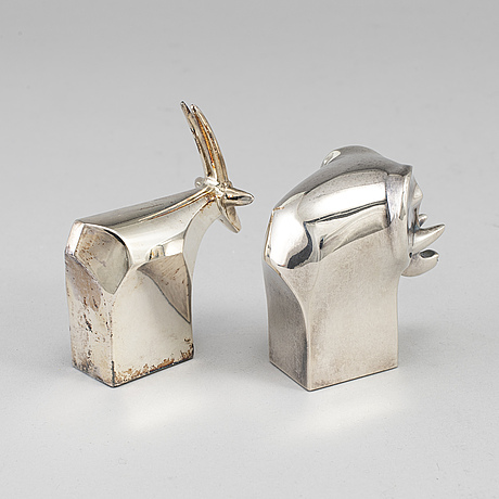 Gunnar cyrÉn,   two silverplated figurines dansk design later part of the 20th century.