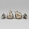 Four silverplated figurines dansk design later part of the 20th century.