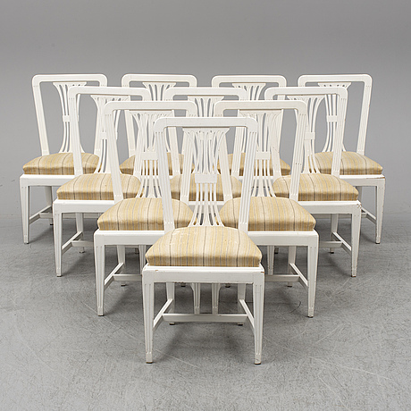 Ten chairs, gustavian style, early 20th century.