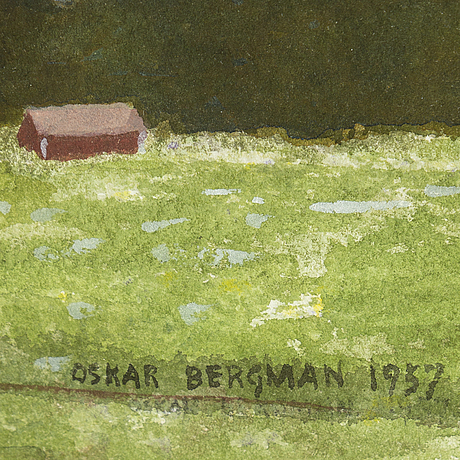 Oskar bergman, watercolour, signed and dated 1957.