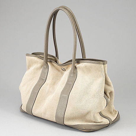HermÈs, a canvas and leather 'garden party' bag.