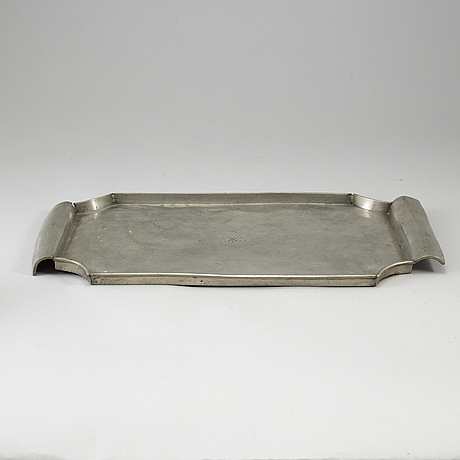 Firma svenskt tenn, a pewter beaker and tray, stockholm 1928-29.