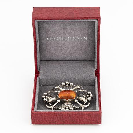 Georg jensen brosch 173 silver med bärnsten.