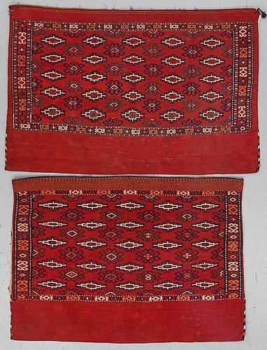 Chuvals, 2 pcs., flat woven, old, probably iran, ca ca 75,5 x 117 cm and 76,5 x 106 cm.