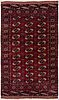 A rug, semi-antique/old tekke, ca 199 x 122,5 (as well as 5 flat weave at both of the ends).