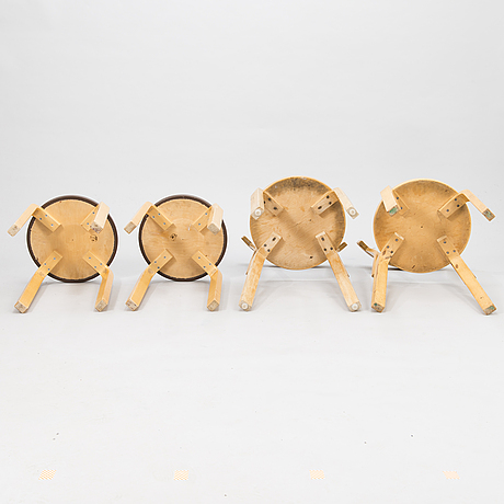 Alvar aalto, two, '68' chairs and two 'e60' stools for artek, latter half of the 20th century.