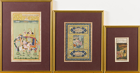 Three bookilluminations in gouache on paper from india / persia.