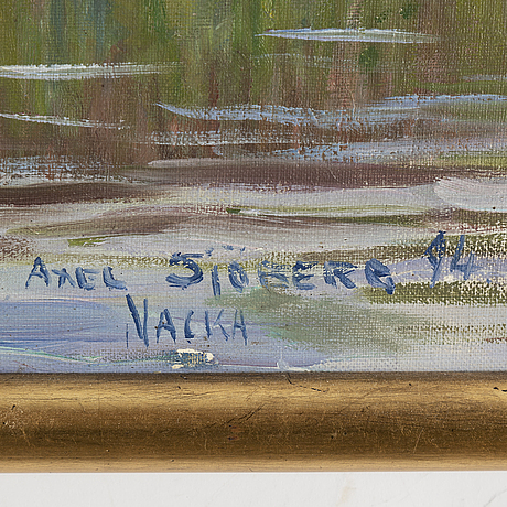 Axel sjÖberg, oil on canvas/panel, signed and dated vacka -94.
