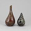 Hans hedberg, a ceramic vase and lidded jar from biot, france, signed hhg.