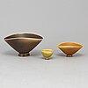 Berndt friberg, three stoneware bowls from gustavsberg studio, signed.