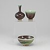 Berndt friberg, two stoneware bowls and a vase from gustavsberg studio, signed.