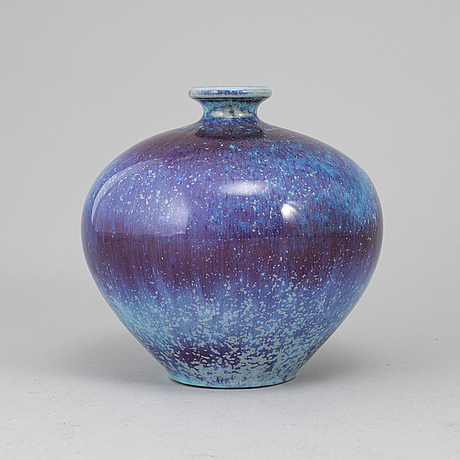 Berndt friberg, a stoneware vase from gustavsberg studio, signed.