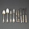 69 psc silver cutlery, some gustaf möllenborg, stockholm 1852.