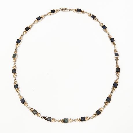 A sterling silver necklace with spectrolites. kultateollisuus oy, turku 1975.