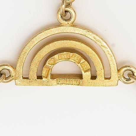 A set of gold plated silver necklace and two bracelets. kultateollisuus oy, turku 1975.