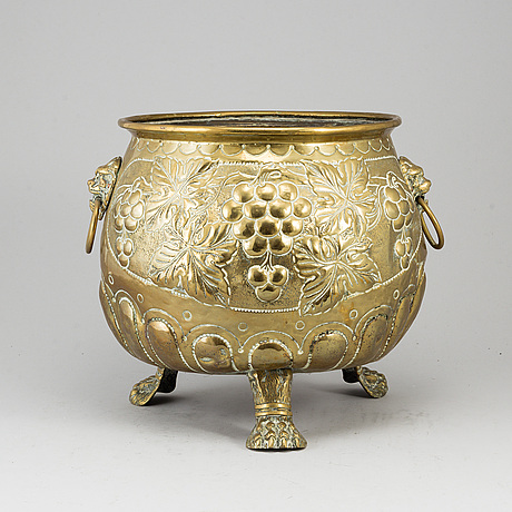 A 19th century brass flower pot.