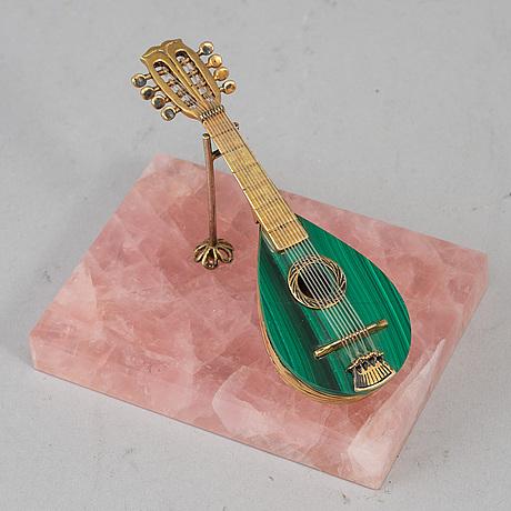 An italian silver gilt and malachite miniature guitar, first half of the 20th century.