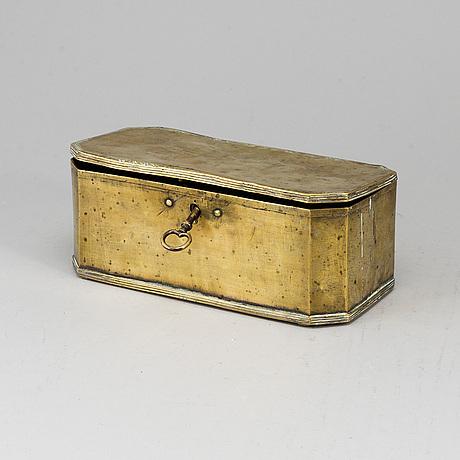 An 18th century brass box.