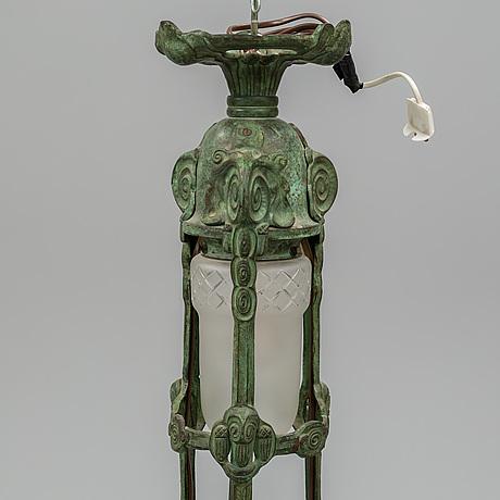 An art-nouveau bronze ceiling lamp from böhlmarks.