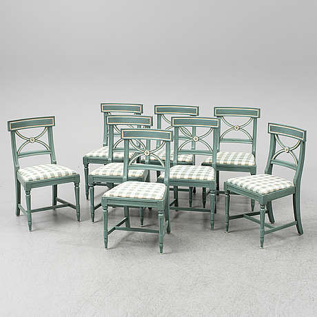 Eight second half of the 20th century chairs.
