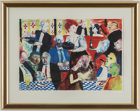 Peter dahl, lithograph in colours, signed pt.
