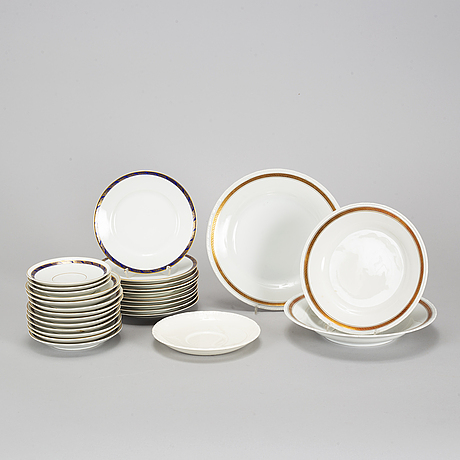 Service porcelain objects, rörstrand and rosenthal, 20th century (50 pieces).