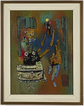 VYTAUTAS KASIULIS, oil/tempera on canvas, signed and dated -57.