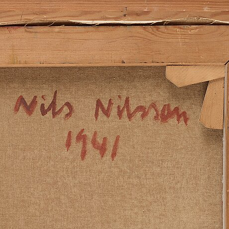Nils nilsson, oil on canvas, signed nn, 1941.