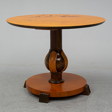 A 1930's-/40's table by mjölby intarsia.