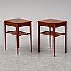 A pair of mahogany bedside tables.