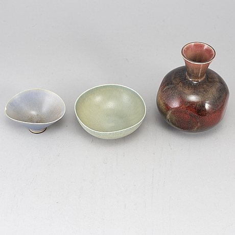 Berndt friberg, two stoneware bowls and a vase from gustavsberg studio.