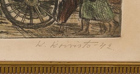 Kullervo koivisto, värietsaus, signeerattu ja päivätty-42.